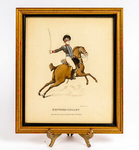Antique 1798 Thomas Rowlandson Deptford Cavalry English Hand-Colored Etching