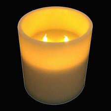 XXL-LED-Echtwachs-Kerze Stumpenkerze 3 Docht mit Auto-Timer-Modus