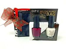 OPI Holiday Glams with Bags Bogota Blackberry, Funny Bunny White 2 Full Sz New