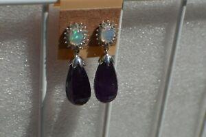 33.60ct Moroccan Amethyst / Multi Gem Earrings Platinum over Fine Silver