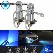 H3 8000K Ice Blue 50W  LED Headlight Bulbs Kit Fog Driving Light DRL Pair