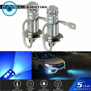 H3 8000K Ice Blue 50W  LED Headlight Bulbs Kit Fog Driving Light DRL Pair