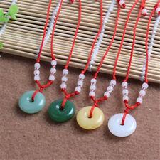 2PCS Unisex Glass Jade Round Pendant Necklace Amulet Good Lucky Charm Jewelry