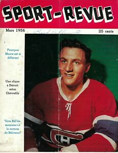 1956 MARCH Sport Revue Hockey magazine Dickie Moore, Montreal Canadiens FAIR wr