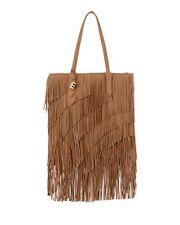 New Elizabeth and James Scott Fringed Leather Bag Tote Camel Charm Expandable