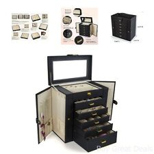Huge Leather Jewelry Box Case Storage Black Boxes Organizers Accessories