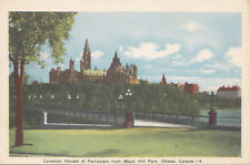 Parliament from Major Hill Park OTTAWA Ontario Canada 1940s PECO Postcard