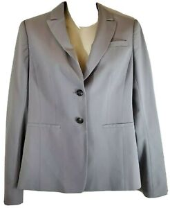 Ann Taylor Small 0 Gray Blazer Long Sleeve Double Button Suit Jacket Womens