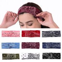 Women's Bandana Print Headband Paisley Twisted Hair Wrap Headwear Hair Accessory