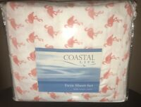 COASTAL LIFE Flamingo 300-Thread Count Sheet Set (TWIN SIZE)