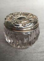 Antique 1903 HM Chester Silver Repousse Top Glass Vanity Rouge Jar James Deakin