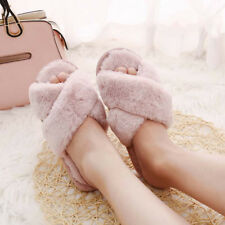 Women Sweet Home Warm Soft Fluffy Slippers Indoor Shoes Flats Winter Shoes Size