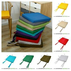 WATERPROOF Chair Cushion Seat Pads OUTDOOR Tie On Garden Patio SQUARE 40 x 40 cm