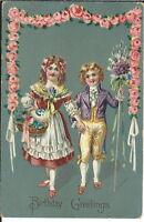 AI-038 - Birthday Greetings Boy Girl Holding Hands 1907-1915 Golden Age Postcard