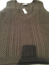 NWT Talbots Women's Brown Sweater Vest Sleeveless V Neck Cashmere Cotton L $69