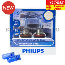 Free T10 (Pair) PHILIPS H9 White Vision Ultra WARM WHITE Halogen Light Bulbs