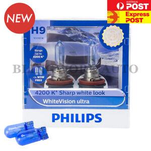 Free T10 (Pair) PHILIPS H9 White Vision Ultra +60% WARM WHITE Halogen Light Bulb
