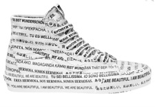 Vans SK8-HI Shoes Womens 5 Authentic We Are Beautiful Printed White High Tapered