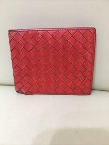 Bottega Veneta men's red leather folding wallet