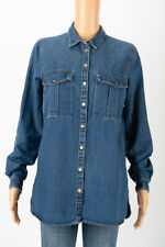 RIVER ISLAND Womens Blue Vintage Denim Shirt Blouse with Jeans Look Size 10