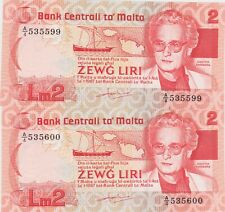 More details for two consecutive p37a malta 2 lira 1986 a over 4 banknotes in mint condition