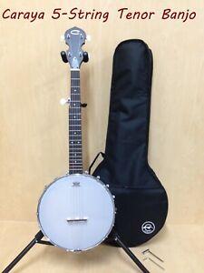 Caraya BJ-30 5-String Irish Tenor Banjo,Open-Back,Gloss Milky Top+Bag -Only One!