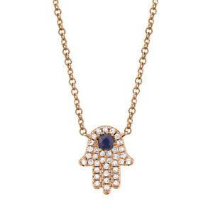 Diamond Blue Sapphire Hamsa Hand Pendant Necklace 14K Rose Gold Natural Round