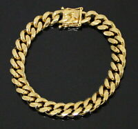 Mens Miami Cuban Link Bracelet Stainless Steel 18k Gold Plated Hip Hop Fashion
