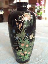 Antique Meiji Japanese Cloisonne Silver Wire Enamel Black Vase
