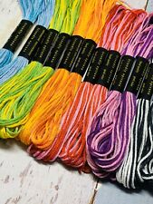 12 x 8m Skeins of Multicoloured Variegated Cotton Embroidery Thread - Free P&P