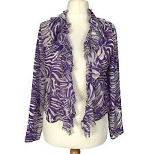 Per Una Chiffon Purple Zebra Stripe Frill Smart Party Short Cardigan Bolero 16