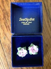 BEAUTIFUL VINTAGE DOROTHY ANN EARRINGS ROSE PORCELAIN STAFFORDSHIRE NEVER WORN