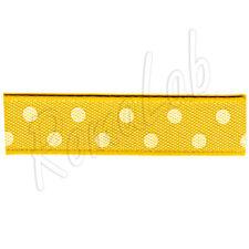 3 metri di nastrino di colore giallo con pois bianchi, alto circa 10 mm