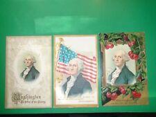 Jb486 Vintage Lot of 3 Patriotic Postcards George Washington Flag
