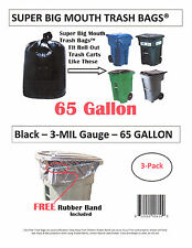 65 Gallon Roll Cart Trash Bags Super Big Mouth Bags® FREE SHIPPING 3-MIL - 3-Pk