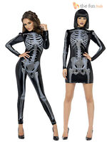 Ladies Skeleton Catsuit Costume Fever Sexy Womens Halloween Fancy Dress Outfit