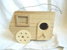 """Vintage """"Finish It"""" Wooden Travel trailer Bird House by Don Mechanic"""