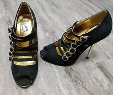 Apple Bottoms AppleBottoms Black and Gold adjustable strap ankle shoes size 6
