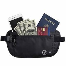 Black Travel Wallet Money Belt RFID Protected Global Recovery Tags Lightweight