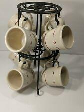 Longaberger Black Wrought Iron Coffee Cup Mug Tree 2 Tier Rack Stand & Mugs (8)