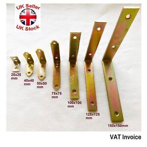 Right Angle Bracket L Corner Brace 25/40/50/75/100/125/150mm Yellow Galvanised