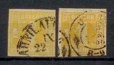 Altdeutschland  Bayern 1850, 2 Einzelmarken, 1 Kreuzer, Mi. # 8