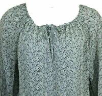 Lucky Brand sz large silk blouse gray black semi sheer pullover top long sleeve