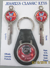 Red Pontiac GRAND PRIX Deluxe Classic White Gold Key Set 1969 1973 1977 1981