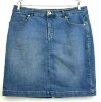 Style & Co Denim Women's Stretch Cotton Blue Jean Skirt Midi Knee Length Size 14
