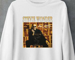 Stevie Wonder Classic Soul Music Vintage Gildan White Sweatshirt MNH041621078
