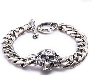 """Men S925 Solid Sterling Silver Apoll Skull Men Biker Gothic Bracelet 8.7"""" 22cm"""
