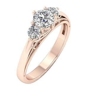 SI1 G Genuine Diamond 1.0 Ct Three Stone Engagement Ring 14K Rose Gold Appraisal