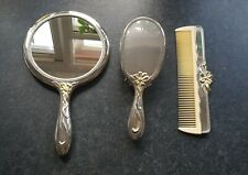Antique silver plated vanity set mirror, brush and comb