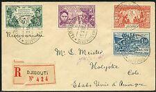 Frz. Somali-Küste 1931 R-Brief Kolonialausstellung 138-141 Djibouti in die USA
